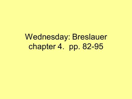 Wednesday: Breslauer chapter 4. pp. 82-95. www.ucalgary.ca/~elsegal/Talmud Map/MG.html Masorah Chapter numbers Targum (a few links) Sedrah.