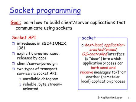 2: Application Layer 1 Socket programming Socket API r introduced in BSD4.1 UNIX, 1981 r explicitly created, used, released by apps r client/server paradigm.
