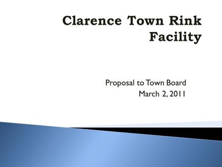 Proposal to Town Board March 2, 2011.  Background  Concept  Financing  Economic Benefits  Marketing Plan  Fundraising and Sponsorship  Clarence.