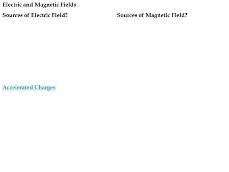 Electric and Magnetic Fields Sources of Electric Field?Sources of Magnetic Field? Accelerated Charges.