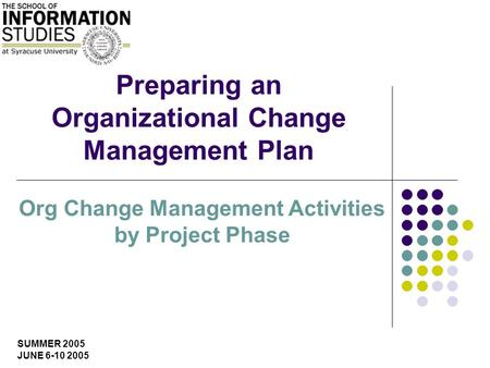 SUMMER 2005 JUNE 6-10 2005 Preparing an Organizational Change Management Plan Org Change Management Activities by Project Phase.