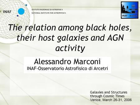 The relation among black holes, their host galaxies and AGN activity INAF ISTITUTO NAZIONALE DI ASTROFISICA NATIONAL INSTITUTE FOR ASTROPHYSICS Galaxies.