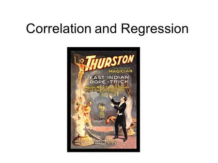 Correlation and Regression. Spearman's rank correlation An alternative to correlation that does not make so many assumptions Still measures the strength.