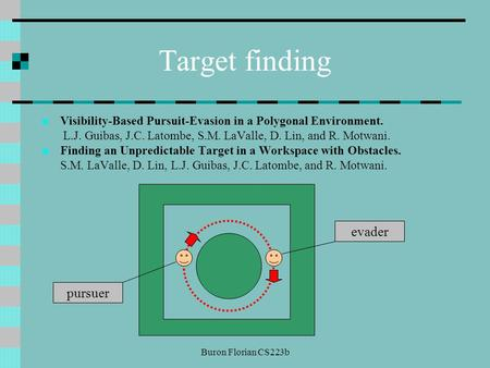 Buron Florian CS223b Target finding Visibility-Based Pursuit-Evasion in a Polygonal Environment. L.J. Guibas, J.C. Latombe, S.M. LaValle, D. Lin, and R.