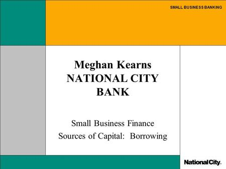 SMALL BUSINESS BANKING Meghan Kearns NATIONAL CITY BANK Small Business Finance Sources of Capital: Borrowing.