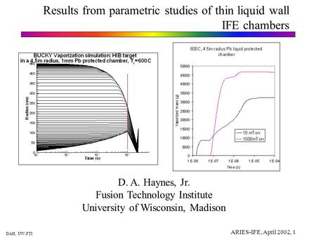DAH, UW-FTI ARIES-IFE, April 2002, 1 Results from parametric studies of thin liquid wall IFE chambers D. A. Haynes, Jr. Fusion Technology Institute University.