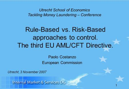 Utrecht School of Economics Tackling Money Laundering – Conference