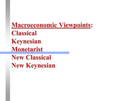 Macroeconomic Viewpoints: Classical Keynesian Monetarist New Classical New Keynesian.