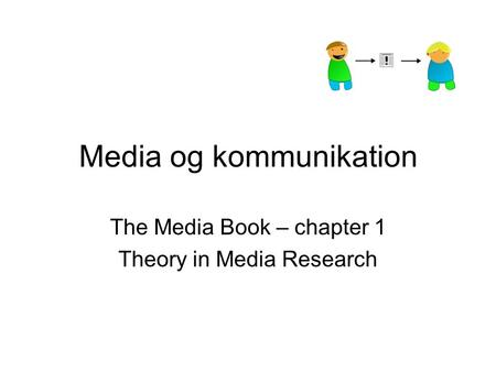 Media og kommunikation The Media Book – chapter 1 Theory in Media Research.