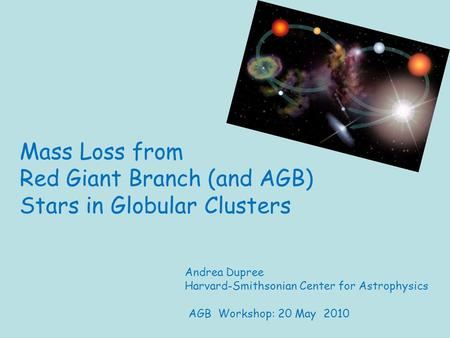 Mass Loss from Red Giant Branch (and AGB) Stars in Globular Clusters Andrea Dupree Harvard-Smithsonian Center for Astrophysics AGB Workshop: 20 May 2010.
