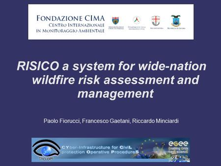 RISICO a system for wide-nation wildfire risk assessment and management Paolo Fiorucci, Francesco Gaetani, Riccardo Minciardi.