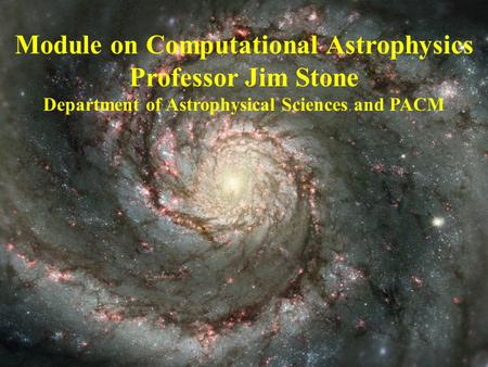 Module on Computational Astrophysics Professor Jim Stone Department of Astrophysical Sciences and PACM.