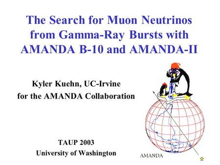 The Search for Muon Neutrinos from Gamma-Ray Bursts with AMANDA B-10 and AMANDA-II Kyler Kuehn, UC-Irvine for the AMANDA Collaboration TAUP 2003 University.