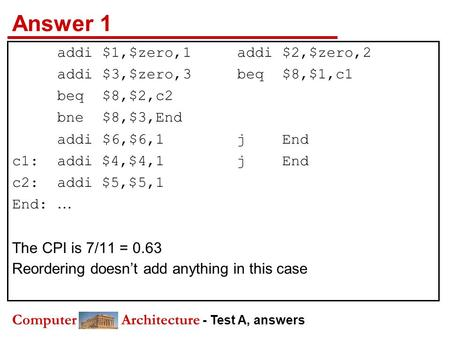 Computer Architecture - Test A, answers Answer 1 addi$1,$zero,1addi$2,$zero,2 addi$3,$zero,3beq$8,$1,c1 beq$8,$2,c2 bne$8,$3,End addi$6,$6,1j End c1:addi.