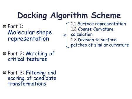 Docking Algorithm Scheme Part 1: Molecular shape representation Part 2: Matching of critical features Part 3: Filtering and scoring of candidate transformations.