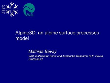 Alpine3D: an alpine surface processes model Mathias Bavay WSL Institute for Snow and Avalanche Research SLF, Davos, Switzerland.