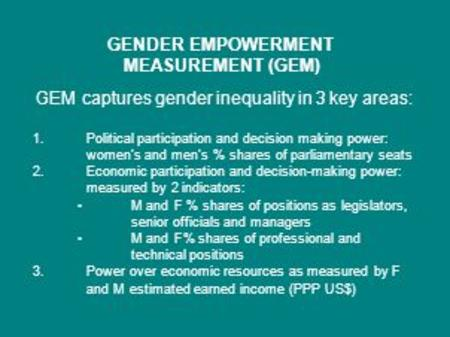 GENDER EMPOWERMENT MEASUREMENT (GEM) GEM captures gender inequality in 3 key areas: 1.Political participation and decision making power: women's and men's.