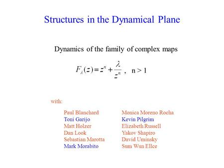 Structures in the Dynamical Plane Dynamics of the family of complex maps Paul Blanchard Toni Garijo Matt Holzer Dan Look Sebastian Marotta Mark Morabito.