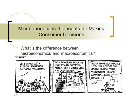 1 Microfoundations: Concepts for Making Consumer Decisions What is the difference between microeconomics and macroeconomics?