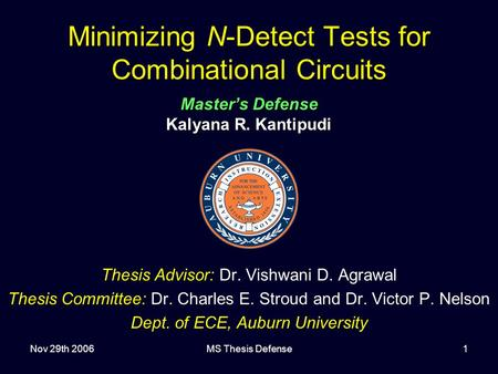 Nov 29th 2006MS Thesis Defense1 Minimizing N-Detect Tests for Combinational Circuits Master's Defense Kalyana R. Kantipudi Thesis Advisor: Dr. Vishwani.