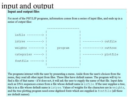 Input and output. What's in PHYLIP Programs in PHYLIP allow to do parsimony, distance matrix, and likelihood methods, including bootstrapping and consensus.