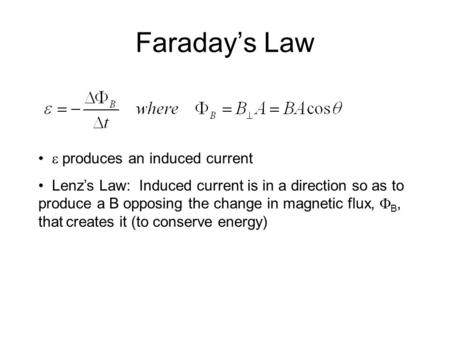 Faraday's Law  produces an induced current Lenz's Law: Induced current is in a direction so as to produce a B opposing the change in magnetic flux, 