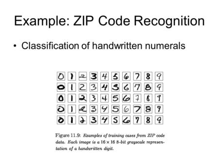 Example: ZIP Code Recognition Classification of handwritten numerals.