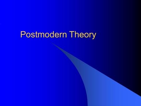 Postmodern Theory. Modernism The belief that all knowledge can be reduced to knowable segments or truths by using the scientific method.