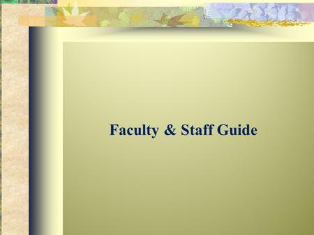 Faculty & Staff Guide. Faculty and staff are often the first to witness early signs of anxiety as they are played out on campus in classrooms and residence.