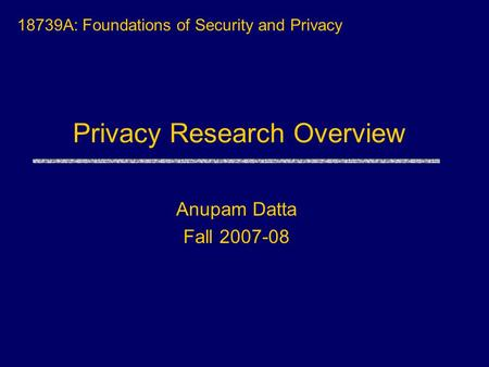Privacy Research Overview