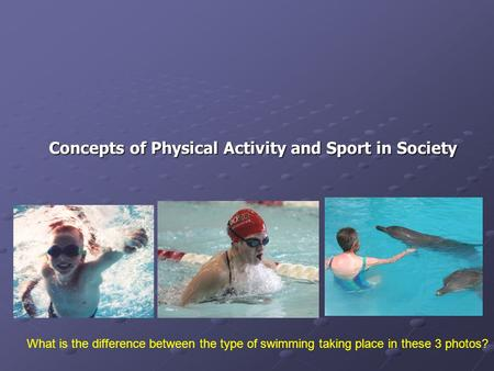 Concepts of Physical Activity and Sport in Society What is the difference between the type of swimming taking place in these 3 photos?