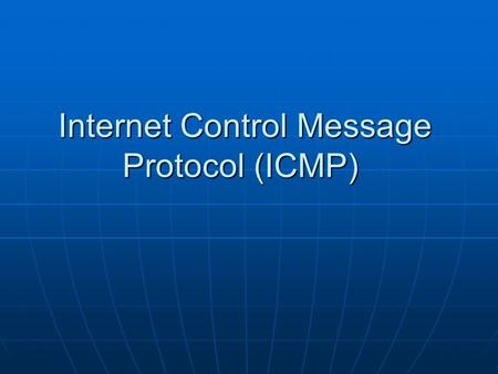 Internet Control Message Protocol (ICMP). Introduction The Internet Protocol (IP) is used for host-to-host datagram service in a system of interconnected.