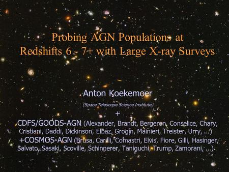 Anton Koekemoer (STScI) Extragalactic X-Ray Surveys - Cambridge, MA, 6 Nov 2006 1 Probing AGN Populations at Redshifts 6 - 7+ with Large X-ray Surveys.