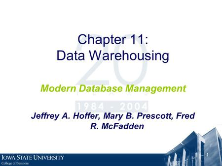 Chapter 11: Data Warehousing