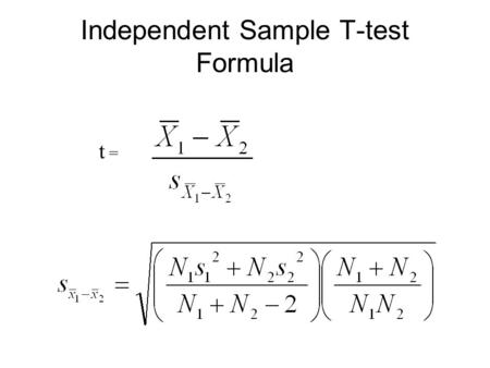 Independent Sample T-test Formula