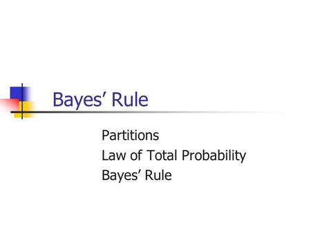 Partitions Law of Total Probability Bayes' Rule