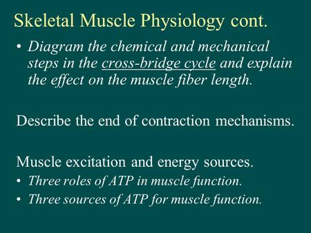 Skeletal Muscle Physiology cont. Diagram the chemical and mechanical steps in the cross-bridge cycle and explain the effect on the muscle fiber length.