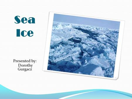 Sea Ice Presented by: Dorothy Gurgacz.