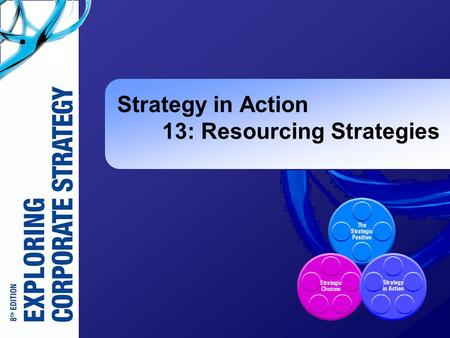 Strategy in Action 13: Resourcing Strategies. Exploring Corporate Strategy 8e, © Pearson Education 2008 13-2 Learning Outcomes (1)  Analyse the resource.