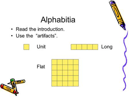 "Alphabitia Read the introduction. Use the ""artifacts"". UnitLong Flat."