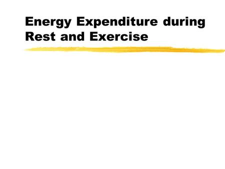 Energy Expenditure during Rest and Exercise. BMR zMinimum level of energy required to sustain the body's vital functions in a waking state. zReflected.