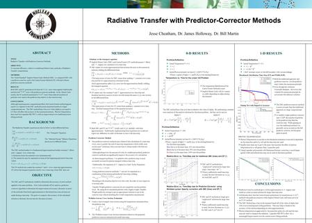 Radiative Transfer with Predictor-Corrector Methods ABSTRACT TITLE : Radiative Transfer with Predictor-Corrector Methods OBJECTIVE: To increase efficiency,