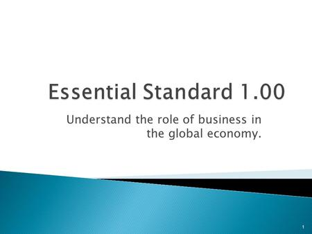 Understand the role of business in the global economy. 1.