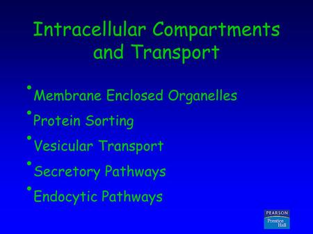 Copyright © 2005 Pearson Prentice Hall, Inc. Intracellular Compartments and Transport Membrane Enclosed Organelles Protein Sorting Vesicular Transport.