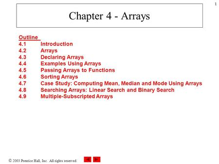  2003 Prentice Hall, Inc. All rights reserved. 1 Chapter 4 - Arrays Outline 4.1Introduction 4.2Arrays 4.3Declaring Arrays 4.4Examples Using Arrays 4.5Passing.