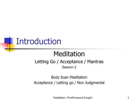 Meditation, Mindfulness & Insight1 Introduction Meditation Letting Go / Acceptance / Mantras Session 2 Body Scan Meditation Acceptance / Letting go / Non.