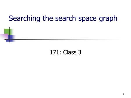 1 Searching the search space graph 171: Class 3. 2 Recap: State-Space Formulation Intelligent agents: problem solving as search Search consists of state.