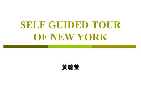 SELF GUIDED TOUR OF NEW YORK 黃毓瑩. Agenda A 、 FLIGHT INFORMATION B 、 VEHICLE RENTAL C 、 ACCOMMODATION D 、 INFORMATION ABOUT POINTS OF INTERESTS E 、 CONTENTS.