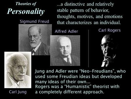Theories of Personality...a distinctive and relatively stable pattern of behavior, thoughts, motives, and emotions that characterizes an individual. Sigmund.