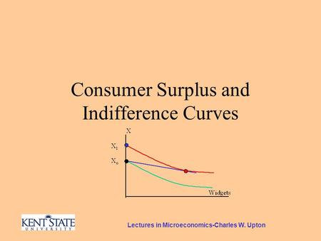 Lectures in Microeconomics-Charles W. Upton Consumer Surplus and Indifference Curves.